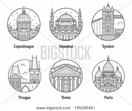 Main Europe cities icons including London, Rome, Prague, Istanbul, Copenhagen and Paris. Travel destinations icon set with famous european landmarks and tourist attractions in line art design.