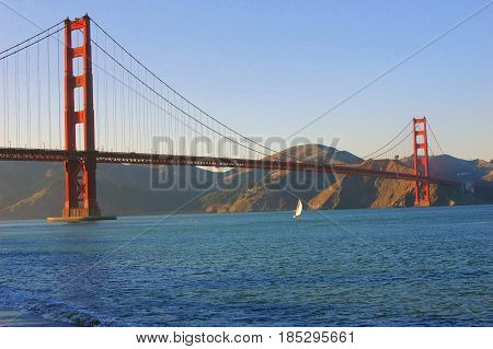 Golden Gate bridge span displayed in San Francisco, California.