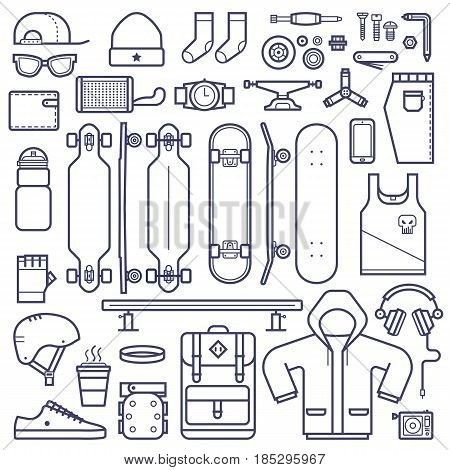 Skateboard equipment set in thin line style. Skate deck,  skate riding accessories and clothes icons in outline design. Urban skateboarding lifestyle collection with skateboard gear and clothes.