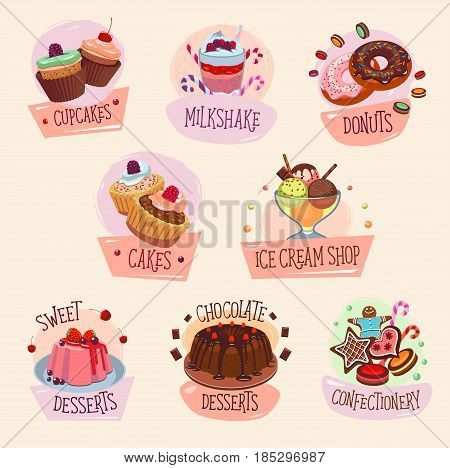 Desserts and pastry cakes vector icons set for bakery shop or homemade patisserie. Cakes and cupcakes, ice cream and fresh chocolate milkshake, charlotte or tiramisu pudding and cheesecake biscuit pie