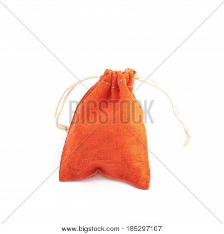 Cloth gift bag with a lace stringing isolated over the white background