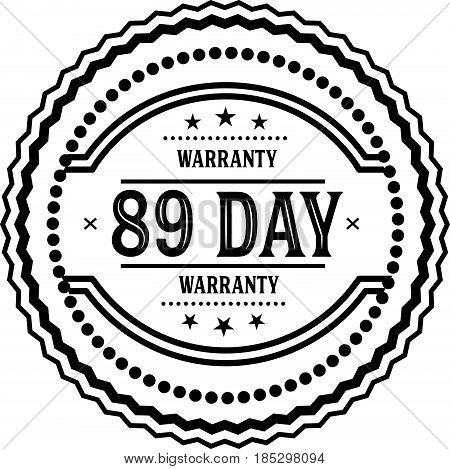 89 days warranty vintage grunge black rubber stamp guarantee background poster
