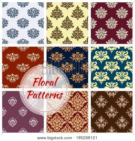 Damask floral ornament pattern of vector seamless flourish tracery. Patterns set of ornate flower adornment and ornamental flowery vintage and antique rococo motif design for interior decor tiles poster