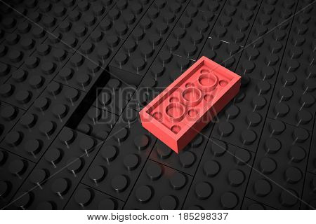 3d illustration: red different toys piece lies separately on a black background is not inserted in the groove. Business concept: unique, not like everyone else. cube children's plastic of erector set.