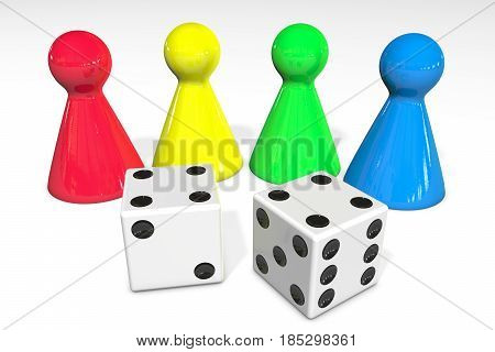 3d illustration: Four colored plastic board game pieces with reflection and two white dice with black dots isolated on white background
