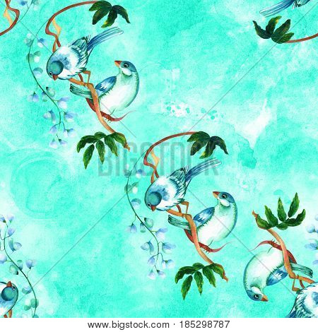 A seamless pattern with a couple of vibrant teal blue watercolor birds on a tree branch with leaves and flowers, on a teal blue background