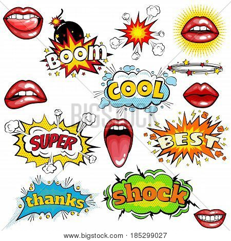 Set of cartoon comic super speech bubble labels with text, sexy open red lips with teeth, retro cartoon vector pop art illustration, halftone dot vintage effect background.