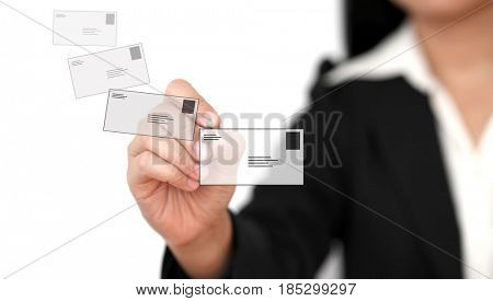 Asian business woman sending mail to world social network