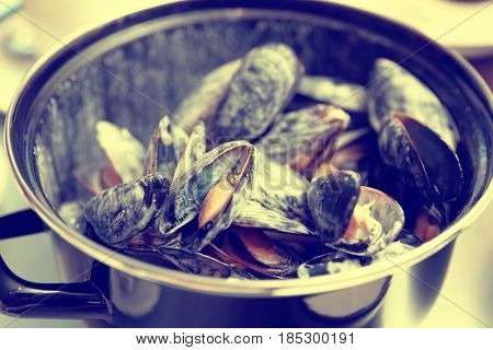 Mussels cooked with creamy sauce and served in metal pot, shallow focus, toned image