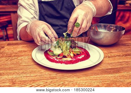 Chef is serving vegetable appetizer on white porcelain plate, copy space, toned image