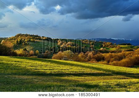 Spring forest and meadows landscape in Slovakia. Coming storm panorama. Blooming cherry trees. Sunlit country.