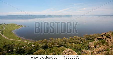 A wide angle view of Lake Nakuru National Park in Kenya.