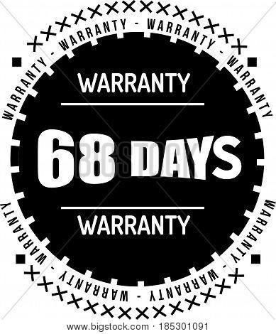 68 days black warranty icon vintage rubber stamp guarantee