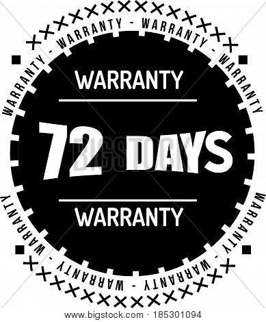 72 days black warranty icon vintage rubber stamp guarantee