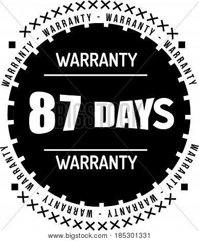 87 days black warranty icon vintage rubber stamp guarantee