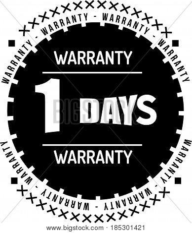 1 days black warranty icon vintage rubber stamp guarantee