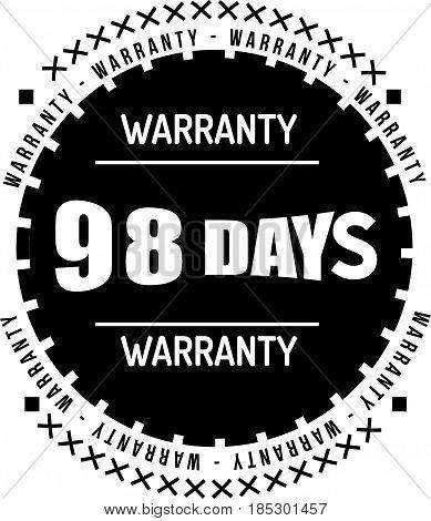 98 days black warranty icon vintage rubber stamp guarantee