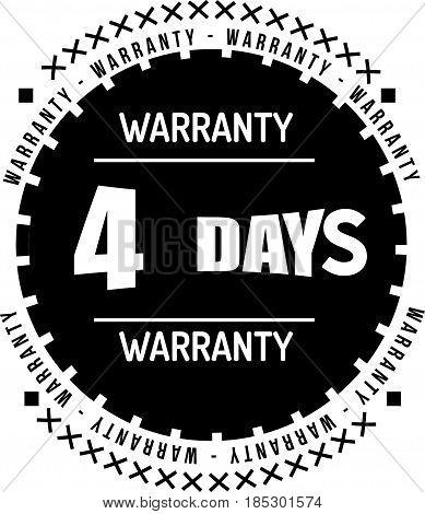 4 days black warranty icon vintage rubber stamp guarantee