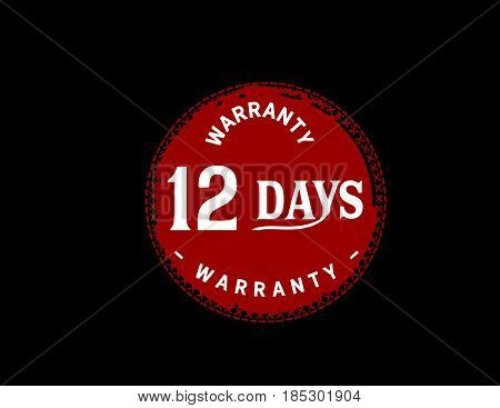 12 days red warranty icon vintage rubber stamp guarantee