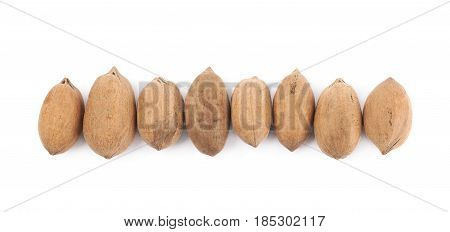 Multiple pecan nuts arranged in a line, composition isolated over the white background