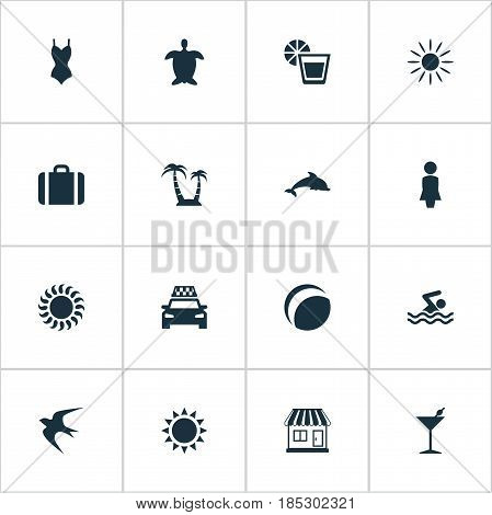Vector Illustration Set Of Simple Seaside Icons. Elements Sunlight, Sun, Hot And Other Synonyms Lemonade, Lady And Car.
