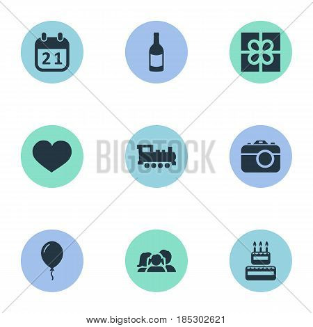 Vector Illustration Set Of Simple Holiday Icons. Elements Domestic, Soul, Train And Other Synonyms Soul, Photo And Train.