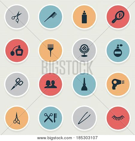 Vector Illustration Set Of Simple Salon Icons. Elements Reflection, Glass, Barbershop And Other Synonyms Shears, Coloring And Fragrance.