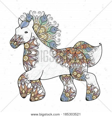 Antistress linear page with horse. Zentangle animal for colouring book, greeting card, mandala decoration element, art therapy. Yoga print