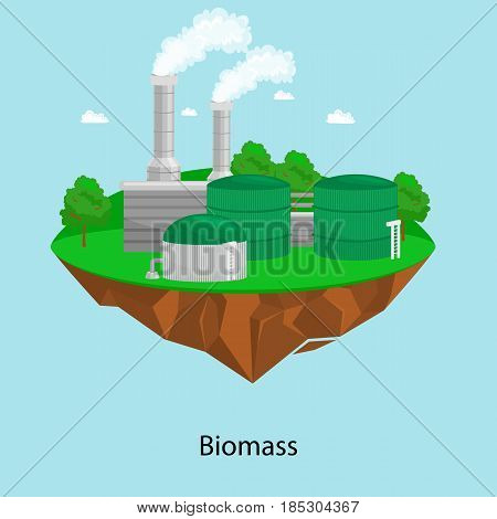 alternative energy power industry, biomass power station factory electricity on a green grass ecology concept, technology of renewable bio plant recycle station vector illustratin.