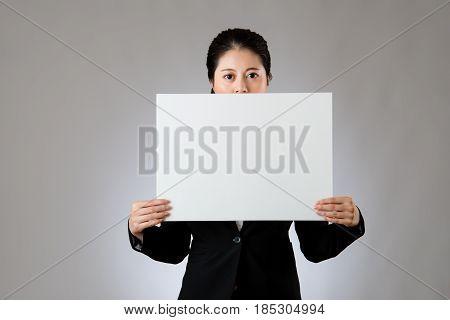 Businesswoman Keep Silence Using A Banner