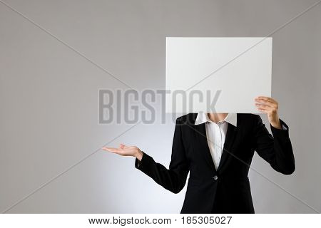 Woman Blank Billboard With Presenting