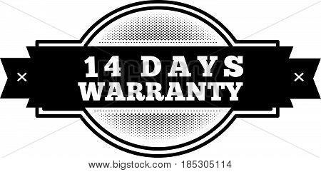 14 days warranty icon vintage rubber stamp guarantee