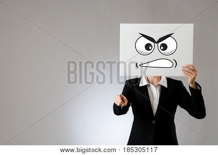 Angry Face Expression Illustration On Blank Card