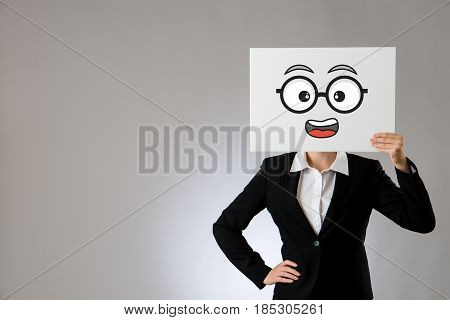 Holding Blank Board With Shocked Face