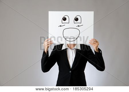 Big Laughing Face Illustration On Blank Board