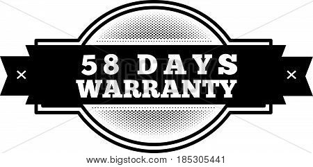 58 days warranty icon vintage rubber stamp guarantee poster