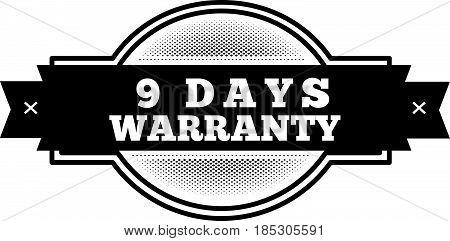9 days warranty icon vintage rubber stamp guarantee