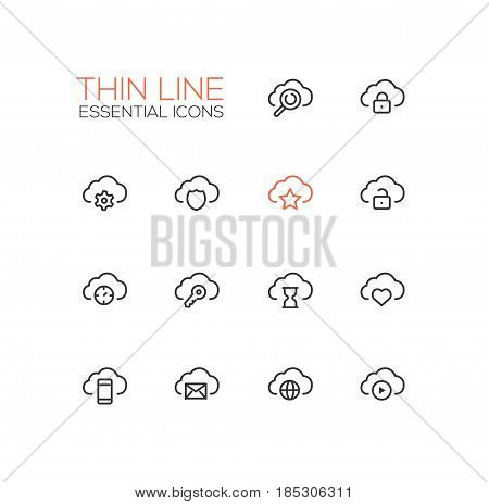 Clouds with Symbols - modern vector single thin line icons set. Cloud, magnifying glass, lock, gear, shield, star, unlock, time, key, hourglass, heart, mobile device, letter, globe, player