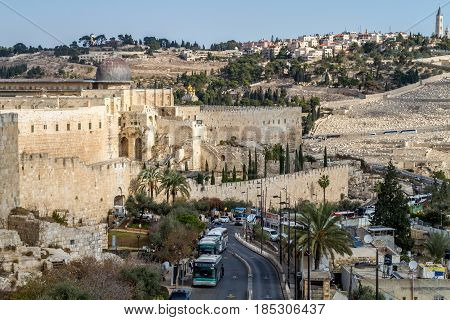 JERUSALEM, ISRAEL - DECEMBER 8: View of the Al-Aqsa Mosque, the Temple Mount in Old City of Jerusalem, Israel on December 8, 2016