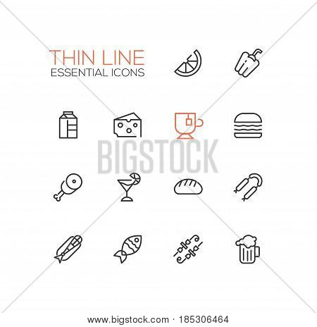 Kinds of Food - set of modern vector line icons. Orange, pepper, milk, cheese, tea, hamburger, meat, pie bread sausages fish kebab beer