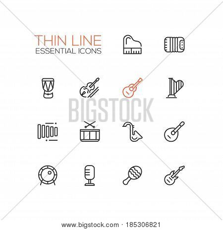 Musical Instruments - modern vector line design icons set. Piano, accordion, kettledrum, violin, guitar, harp, metallophone, saxophone banjo drum kit microphone trumpet