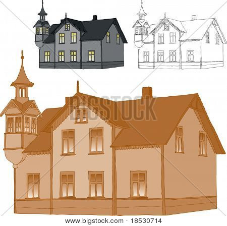 Old romantic family house. Trace of freehand drawing. Only one color used for easy color change