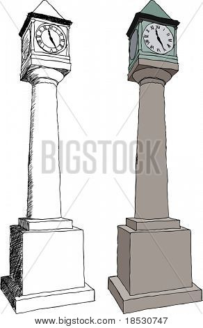 Vector illustration of Old city clock on white