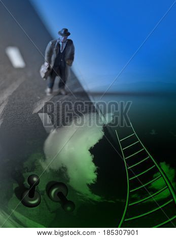 3d render. Figure of man with briefcase. Pins and ladder.   3D rendering   Some elements provided courtesy of NASA
