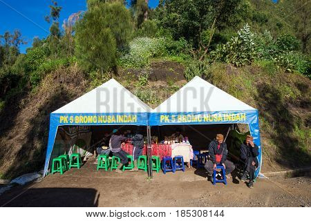 East Java,indonesia-may 05 : Tourists Hiking To Viewpoint On Mount Penanjakan,the Best Views From Mo