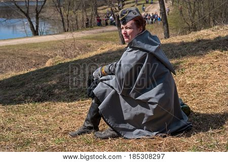 Gatchina, Russia - May 7, 2017: Historical reconstruction of the battles of World War II. Participant reconstruction in the form of a German serviceman of communication units.