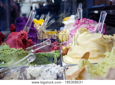 Close up of delicious icecreams in the ice-cream parlour