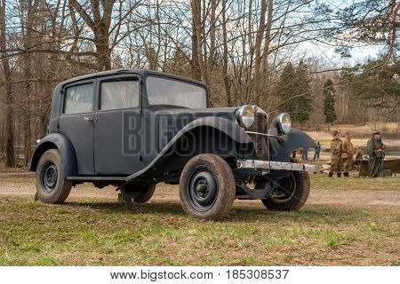 Gatchina, Russia - May 7, 2017: Historical reconstruction of the battles of World War II. Passenger car Mercedes Benz in the service of the German army.
