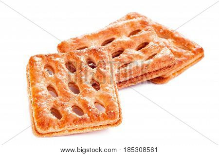 sweet puff pastry isolated on white. Puff pastry isolated on the white background