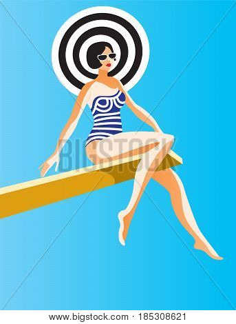 Creative conceptual vector. Woman sitting on a board in the sunlight.
